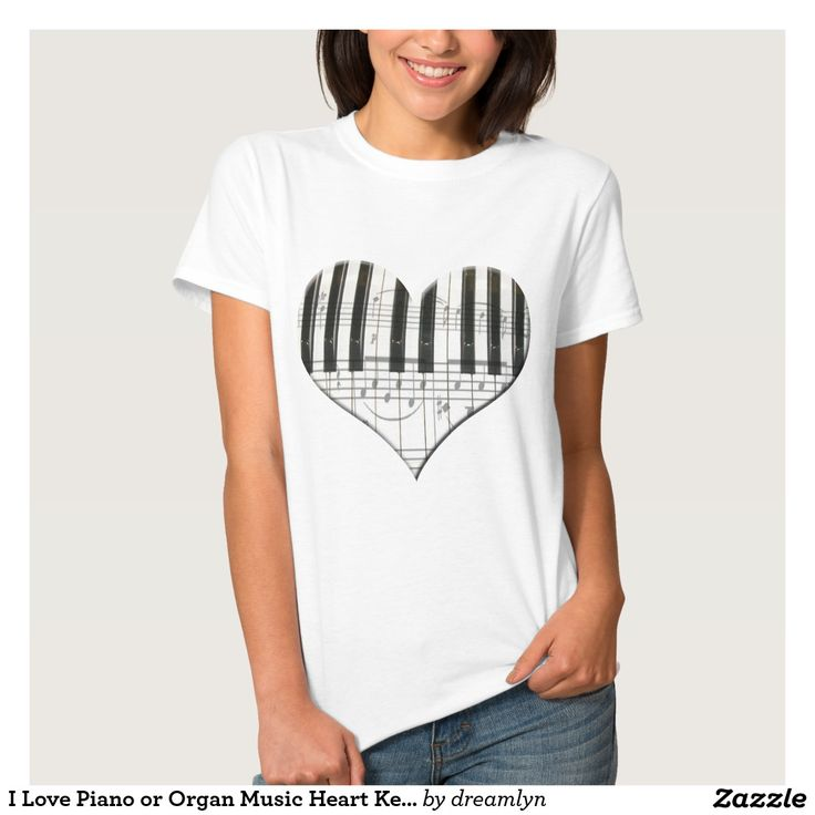 I Love Piano or Organ Music Heart Keyboard T Shirt