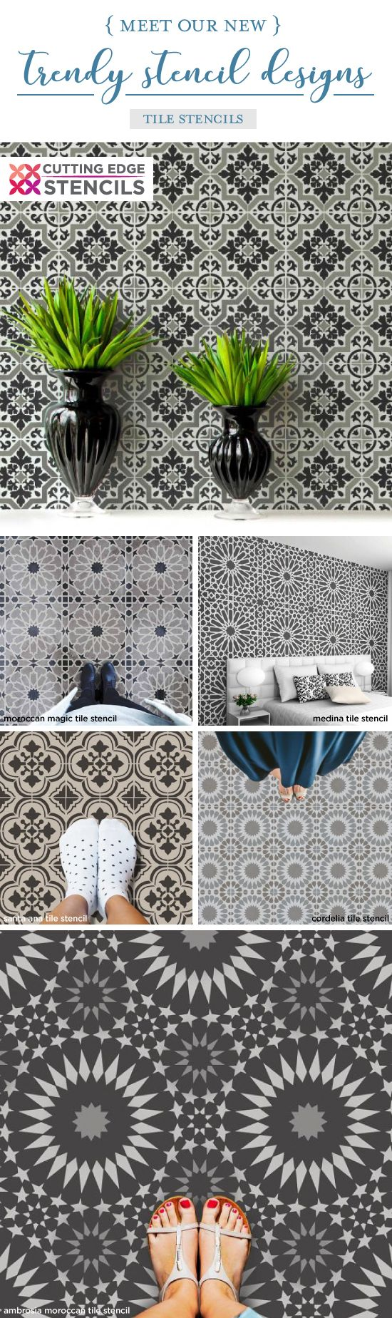 Cutting Edge Stencils shares a New wall stencil collection that includes gorgeous cement tile patterns perfect for making over old floors or linoleum flooring. http://www.cuttingedgestencils.com/wall-stencils-stencil-designs.html