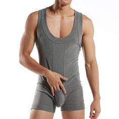 Sexy Pure Cotton One Piece Siamese Vest Home Body Breathable Pouch Pajamas for Men - Newchic Mobile.