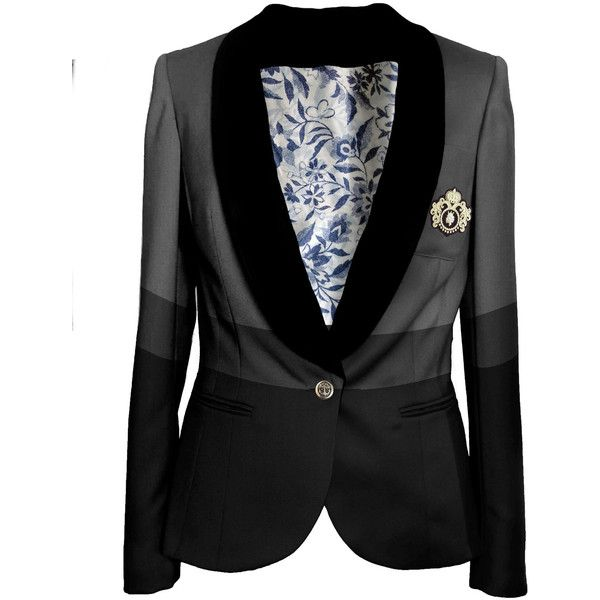 Black grey tailored womens blazer jacket ($321) ❤ liked on Polyvore