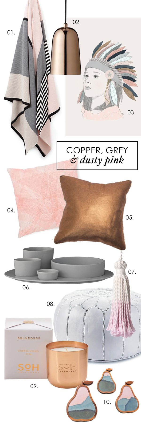 Adore Home magazine - Blog - Copper, grey and dusty pinks Plate and Bowl Set + Copper Candle available from ElvaHem.com