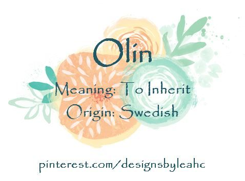 Baby Boy Name: Olin  Meaning: To Inherit  Origin: Swedish  Nickname