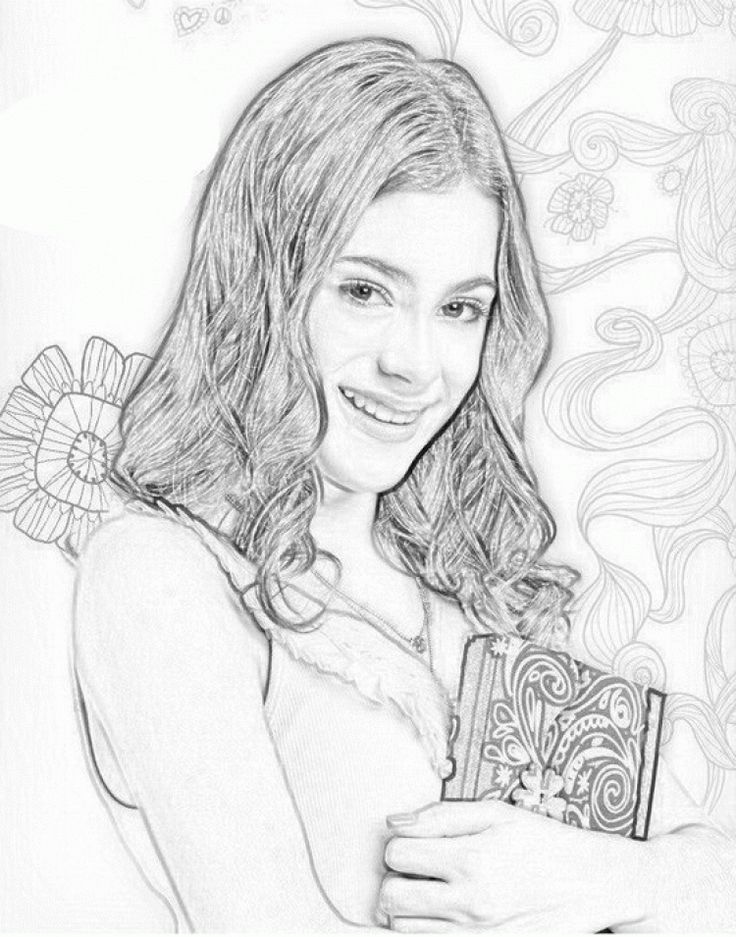 Printable Violetta Holding Her Diary Coloring Page