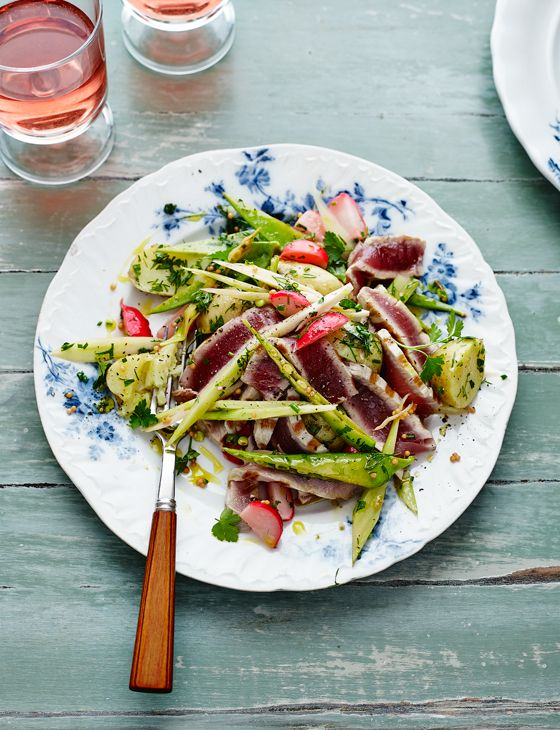 Warm pickled veg with seared tuna and herbs - Lightly pickled veg and green herbs are a perfect match for oily fish such as tuna, or try salmon, trout or pan-fried mackerel