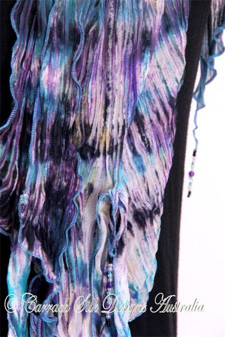 Arashi Strings - hand painted silk scarf