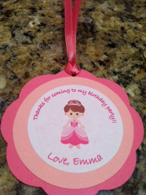 Princess party thank you tags!! Pink princess; princess birthday; princess party; princess decorations; princess favor