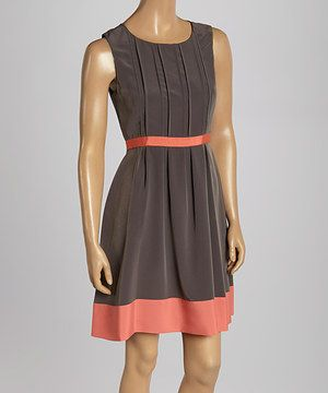 I Lovethe color combination! Look what I found on #zulily! Jessica Simpson Collection Gray & Orange Pleated Sleeveless Dress - Women by Jessica Simpson Collection #zulilyfinds