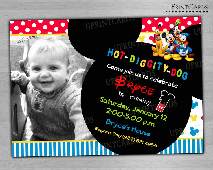 DIY PRINTABLE - Mickey Mouse Clubhouse - Birthday Party - Personalized Photo - Digital Printable Invitation 4x6 or 5x7 JPEG. $9.00, via Etsy.