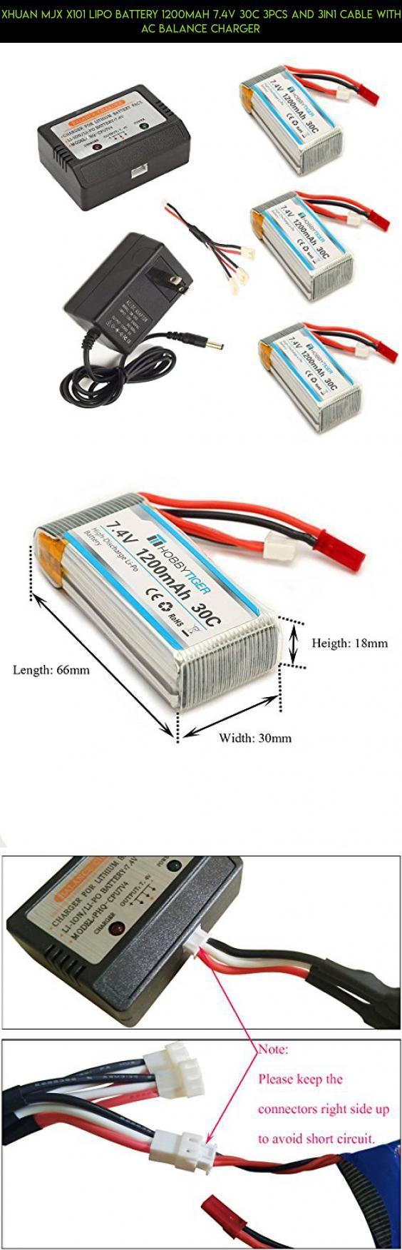 XHuan mjx x101 Lipo Battery 1200mAh 7.4V 30C 3pcs and 3in1 Cable with AC Balance Charger #parts #fpv #battery #kit #tech #technology #racing #drone #shopping #plans #products #mjx #drone #camera #gadgets