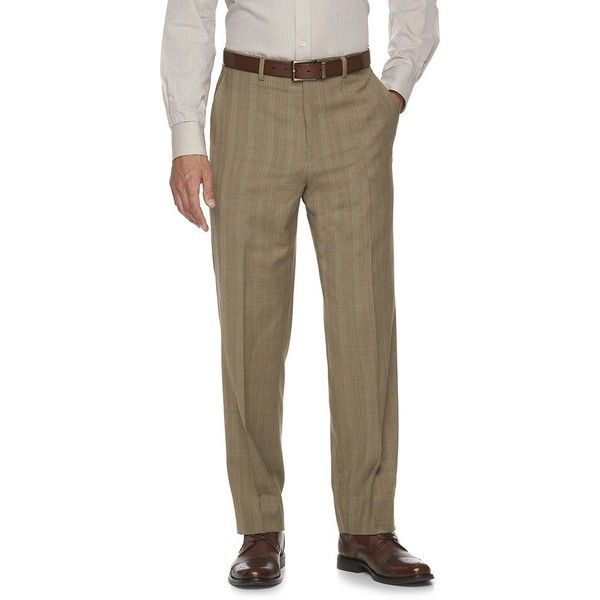 Men's Chaps Classic-Fit Wool-Blend Performance Suit Pants ($65) ❤ liked on Polyvore featuring men's fashion, men's clothing, men's pants, men's dress pants, lt brown, mens suit pants, mens flat front dress pants, mens brown dress pants, mens slim fit suit pants and chaps mens pants