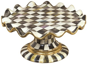 mackenzie-childs courtly check fluted cake stand. LOVE it!!: Check Flutes, Check Ceramics, Cakes Plates, Ceramics Cakes, Court Check, Flutes Cakes, Cakes Stands, Mackenzie Child Court, Mackenziechild Court