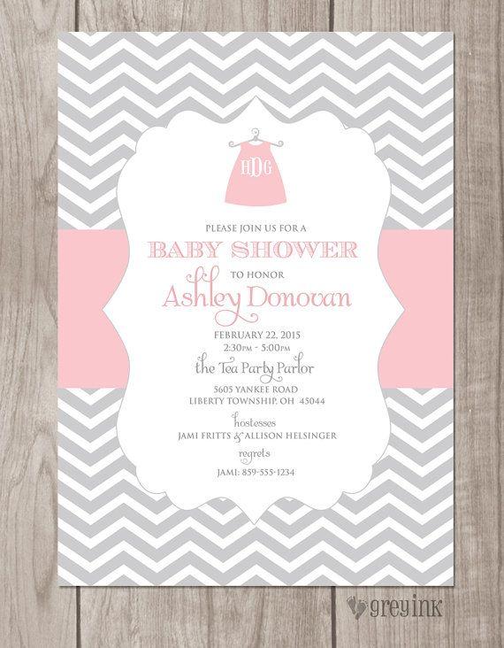 Monogrammed Dress Baby Shower Invitation DIGITAL FILE By Greyink, $15.00.  Visit Greyink.com