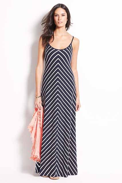 """R29's Resident Petites Take On Dress Shopping #refinery29  http://www.refinery29.com/petite-dresses#slide12  Weekend """"I have one true love in life — a dress that works from brunch to last call. A striped maxi-dress does. I never thought I could wear stripes or maxi-dresses. Learning that I could wear a dress that includes BOTH of these things was pretty life-changing. The key is finding a dress with mixed stripes to help emphasize the waist. Plus, diagonal stripes from feet to waist ..."""