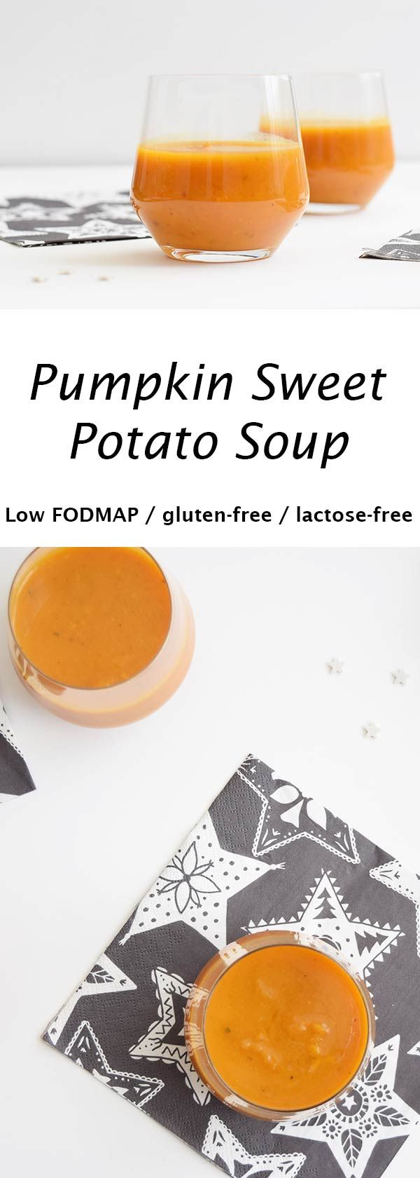 A delicious pumpkin sweet potato soup that makes a perfect starter for Christmas dinner. Low FODMAP, gluten-free and lactose-free