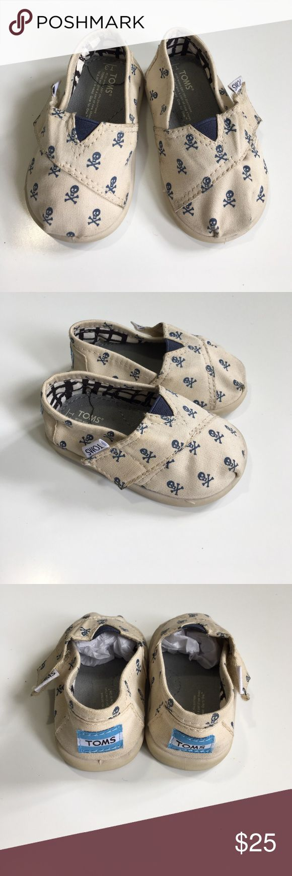 NWOT Tiny Toms Skull Toms. Tried on but never used. Size is T3. No box. TOMS Shoes