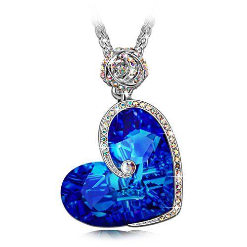 J.NINA Aphrodite Collier Femme cristaux Swarovski Cadeau Femme Bleu Coeur Bijoux Cadeau Anniversaire Cadeau Noël Saint Valentin Cadeau Fete Des Meres Cadeaux Maman Pour Mère Fille épouse Petite Amie