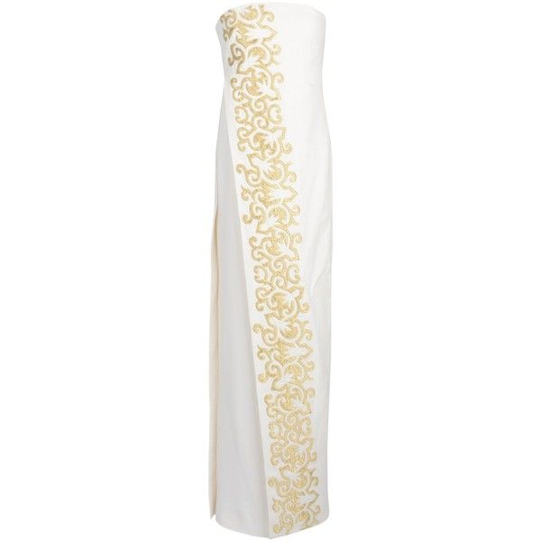 Tory Burch Long Dress (1.440 BRL) ❤ liked on Polyvore featuring dresses, ivory, white linen dress, long embroidered dress, embroidered dress, white sleeveless dress and white ivory dress