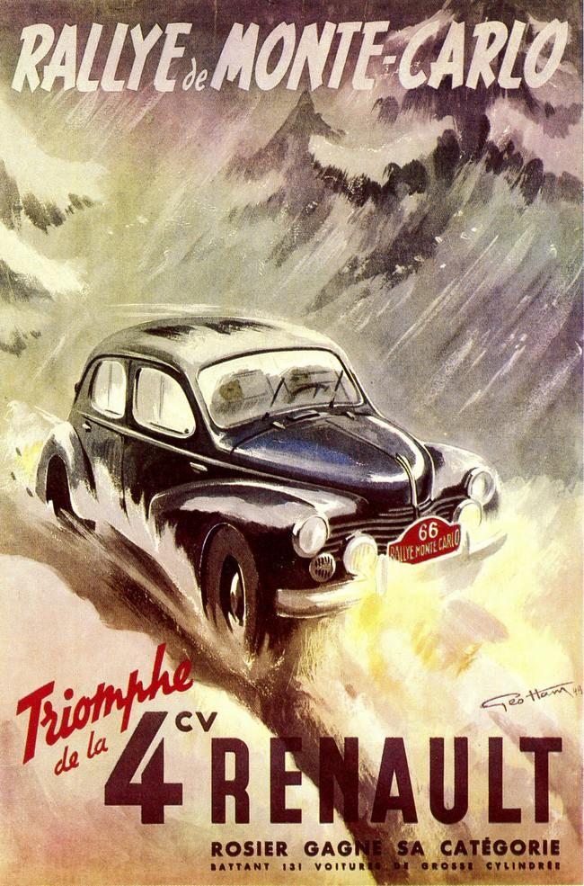 Géo Ham - Affiche de 1949 qui vante les mérites de la Renault 4 CV sur le Monte Carlo.