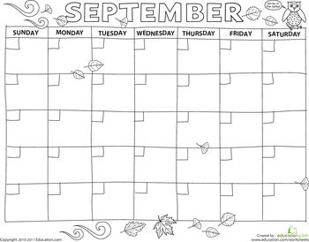 Create a Calendar: September | Kindergarten calendar ...
