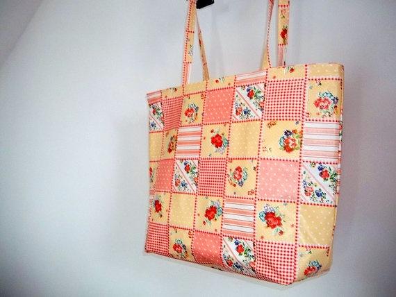 Big Bag Oilcloth Large Market Tote Bag Flower Spring Bag by ILAJLA, $26.00