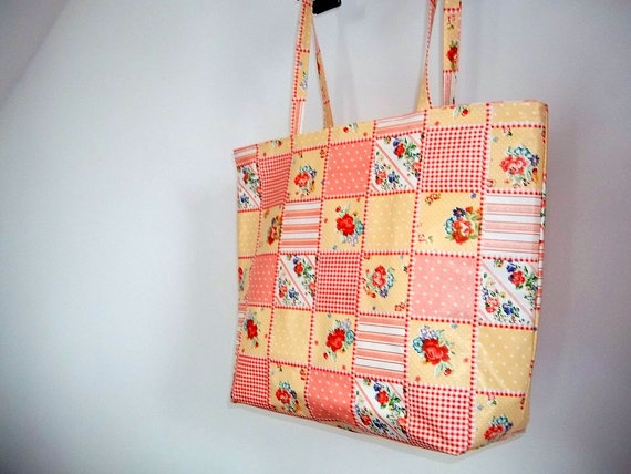 Big Bag Oilcloth Large Market Tote Bag Flower Spring Bag by ILAJLA, $26.00