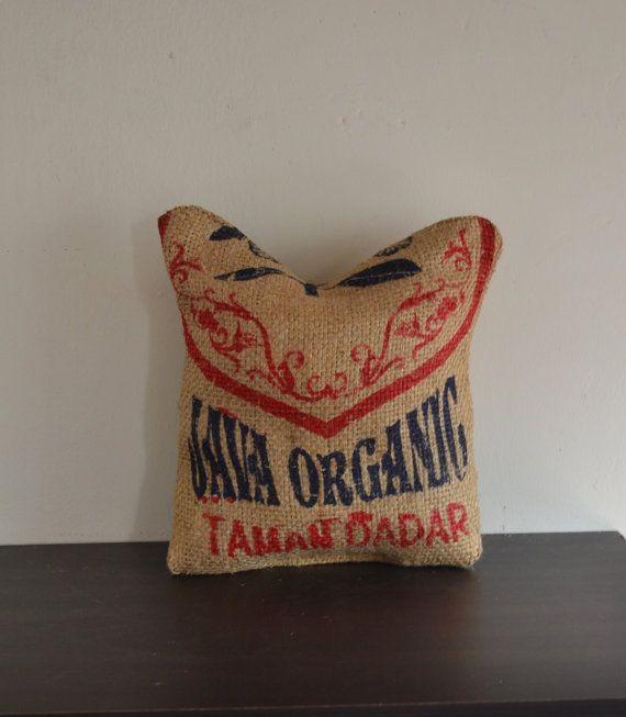 Burlap decorative mini pillow ecofriendly minithrow for Decorative burlap bags