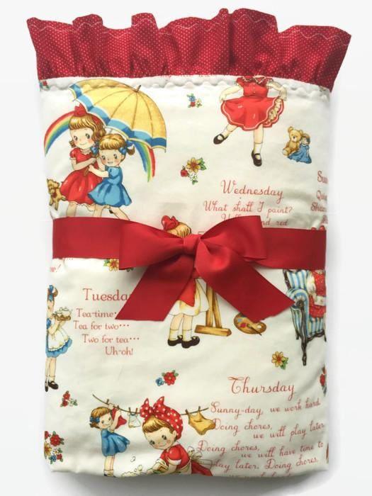 Baby Girl Blanket  Girls Crib Bedding  Retro Baby Blanket