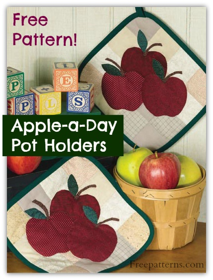 Free Apple-a-Day Pot Holders Quilt Pattern -- Download this free applique quilt pattern from Freepatterns.com.