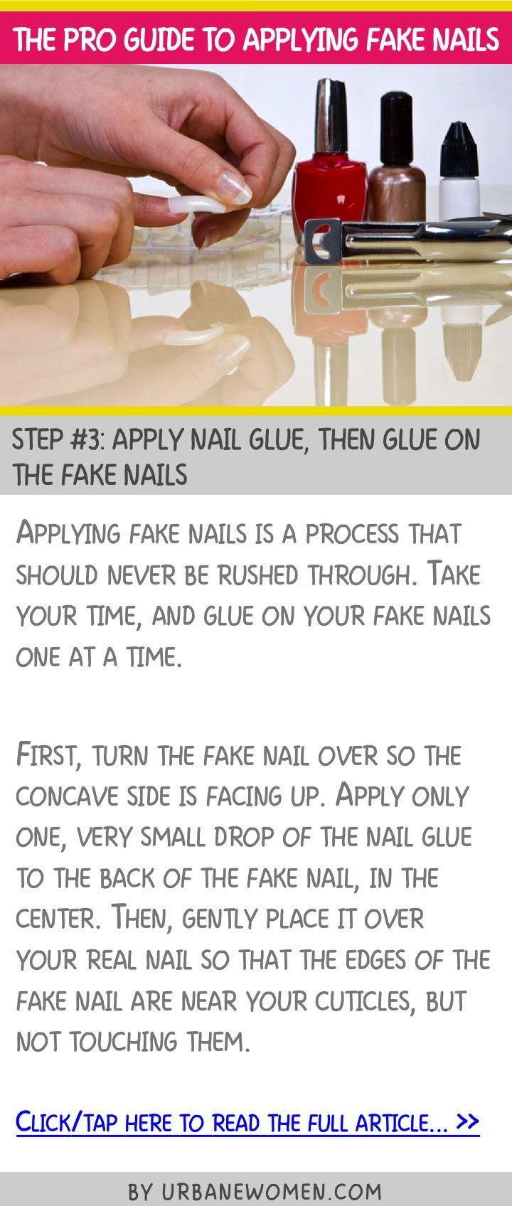 The pro guide to applying fake nails - Step #3: Apply nail glue, then glue on the fake nails