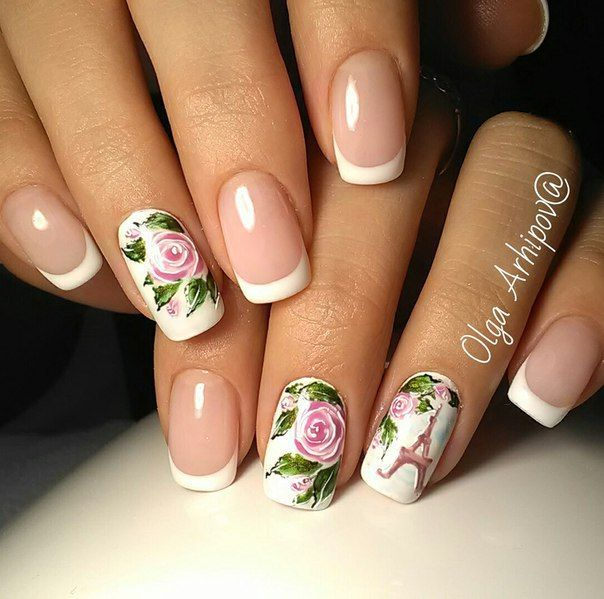 Classic french manicure, flower nail art, French manicure, French manicure with flowers, Gentle french nails, March nails, Paris nails, Spring french manicure