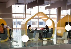 Pods for studying and socializing.    Hawkins\Brown, Coventry University, Coventry Hub  Image: Tim Crocker