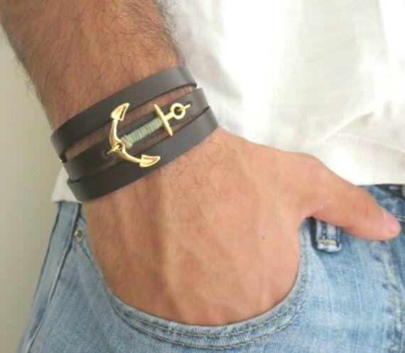 Men's Bracelet – Men's Anchor Bracelet – Men's Leather Bracelet – Men's Jewelry – Men's Gift – Boyfriend Gift – Gift for Men – Man