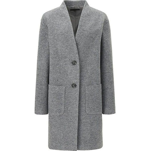 WOMEN SOFT WOOL BLEND COLLARLESS COAT ❤ liked on Polyvore featuring outerwear, coats, uniqlo, uniqlo coats, wool-blend coat, collarless coat and oversized coat