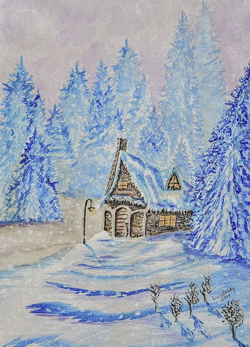 Cottage In A Snowstorm Watercolor Painting It Is A Late Winter Afternoon And A Small Cottage Has Turned Its Lig America Art Painting Watercolor Paintings