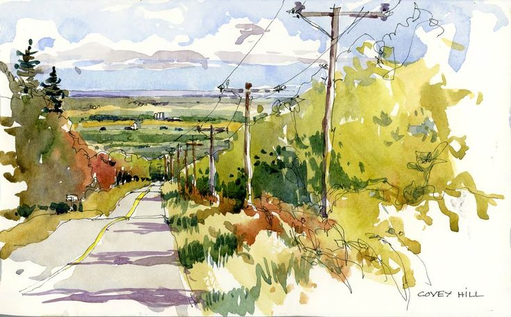covey hill by by Shari Blaukopf, note the pen lines in the trees, the value change for the road shadows