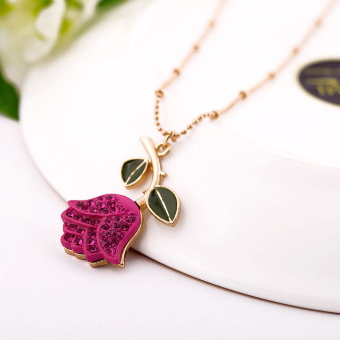 Amazing Romantic Gold Plated Inlaying Artificial Gem Rose Short Design Pendant  Necklaces, Fashion Bead Chain Necklace