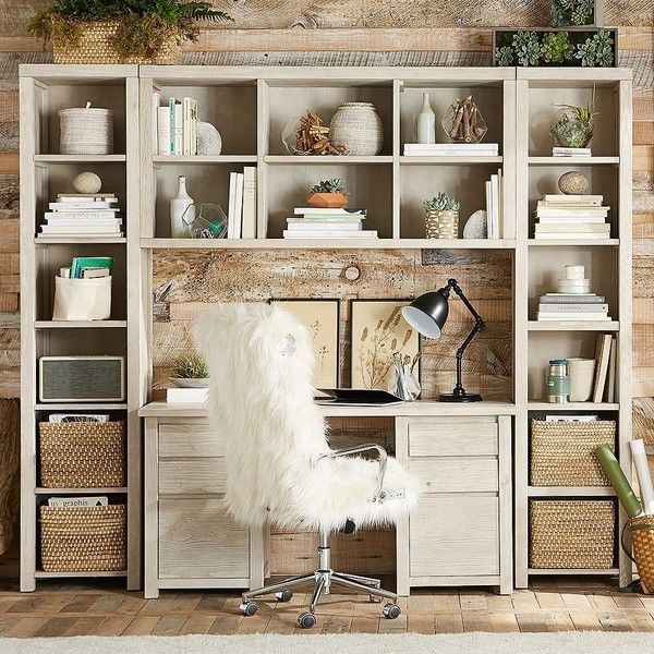 PB Teen Costa Desk Superset, Weathered White ($2,397) ❤ liked on Polyvore featuring home, furniture, distressed white furniture, woods furniture, pbteen, cubby furniture and aged furniture