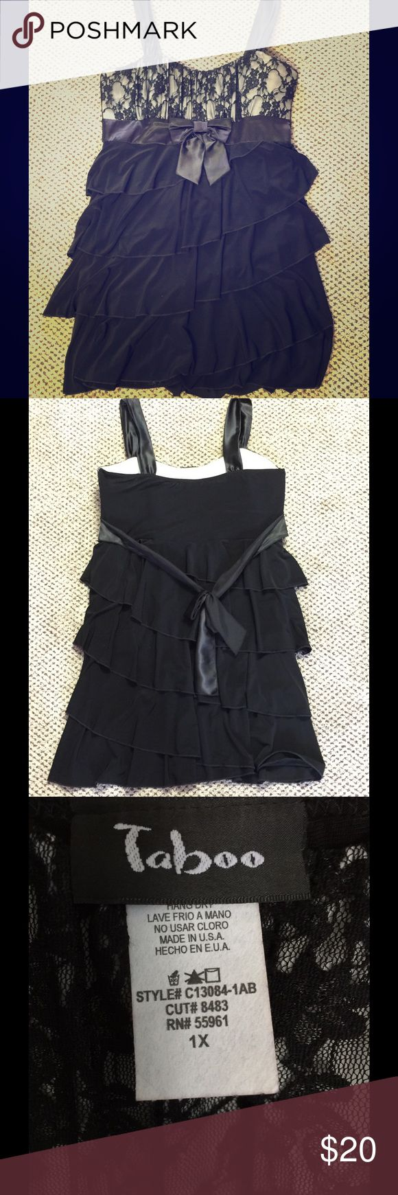 Black and white ruffle dress Taboo 1X women's black and white ruffle dress with lace detail and satin bow. Wore this dress one time. Taboo Dresses