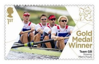 Gold Medal Winner stamp #9 - Rowing: Men's Four, Pete Reed, Andy Triggs Hodge, Tom James and Alex Gregory.