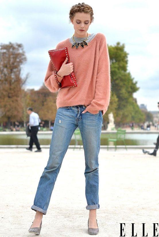 Boyfriend Jean + Pink Pullover