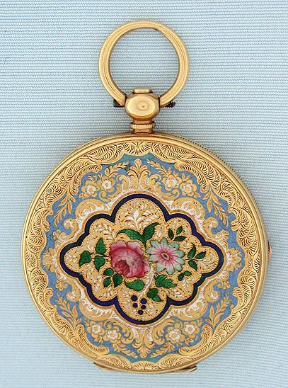 18K gold and enamel Swiss keywind antique pendant watch by Albaret Freres circa 1860.