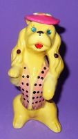 """Vintage Kreiss Poodle Bright Yellow Rhinestone Accents Pink Hat 5"""""""