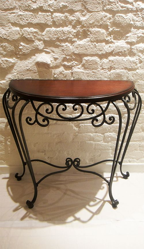 Half-Moon Console Table with Wrought Iron & Pine Wood