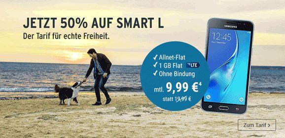 Smartphone-Tarif Tchibo Smart L für monatlich 9,99 € statt 19,99€ online bestellen mit 1GB LTE Internet-Flat ,Telefon Allnet-Flat und nur 9 Cent je Minute im Ausland telefonieren im Netz von O2.