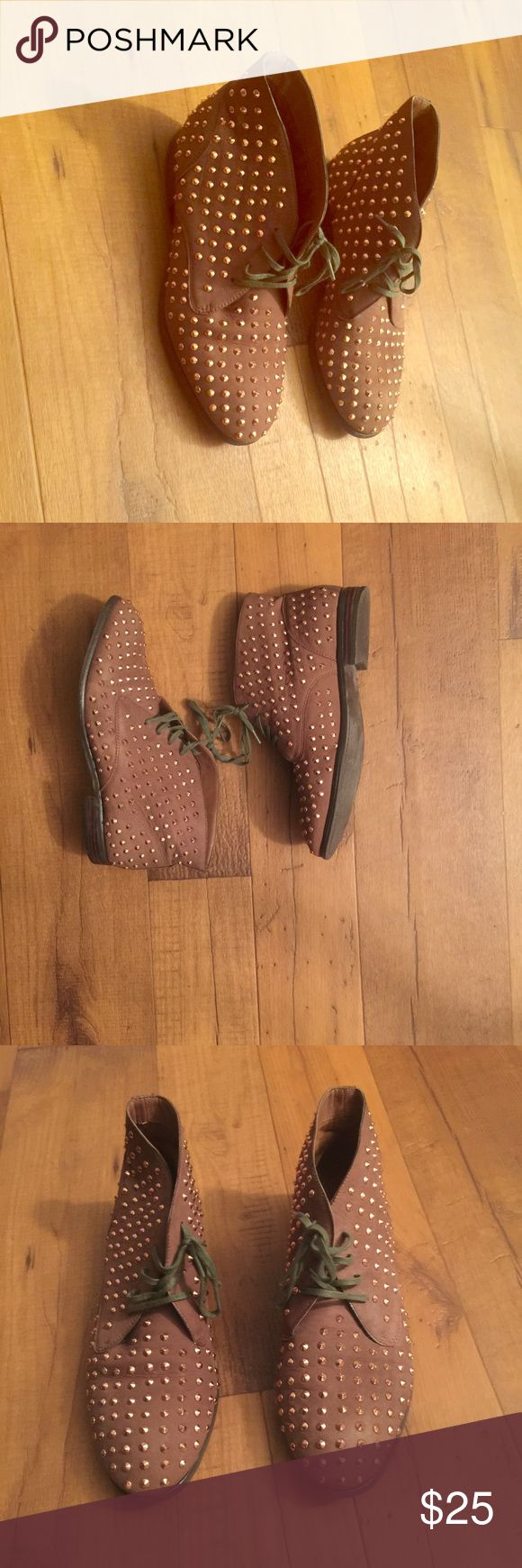 Studded brown flat boots Gently used shoes in great condition. Originally purchased from online retailer Shoes Ankle Boots & Booties