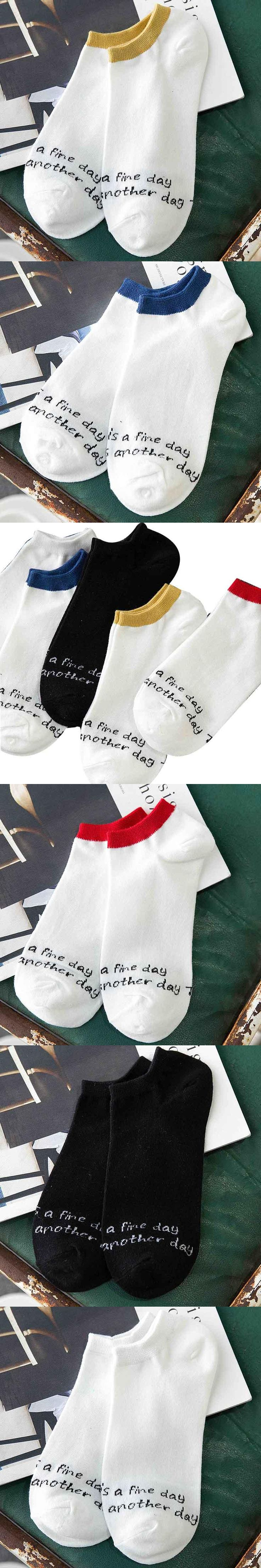 English alphabet trendy 5 colors new arrival fashion men quality Men's casual stealth boat socks for spring and summer