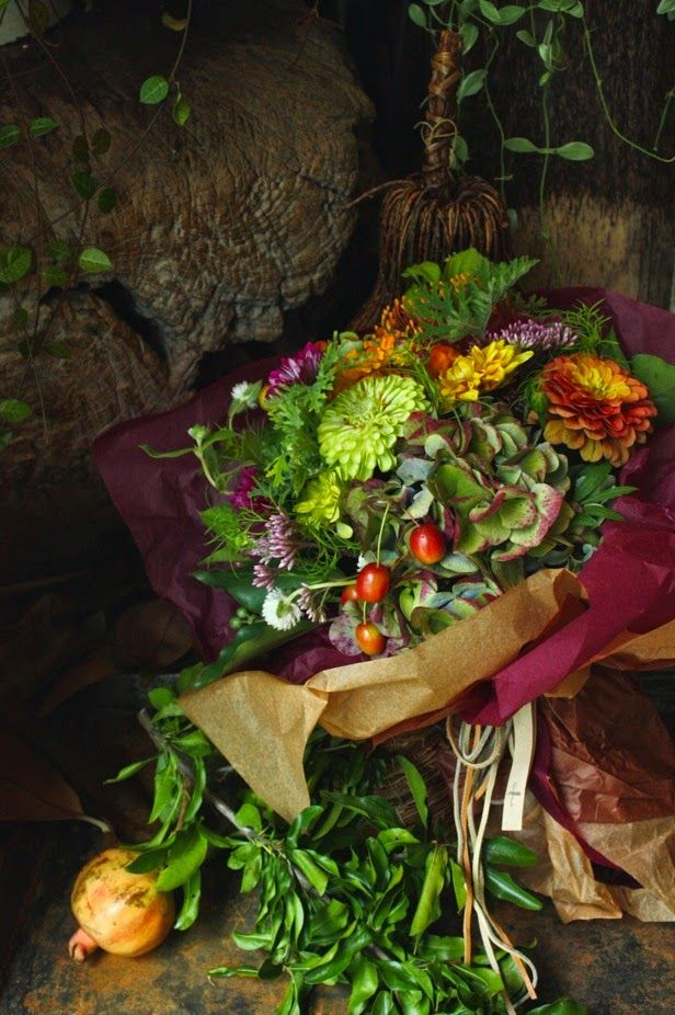 Dusky fall bouquet with pops of color