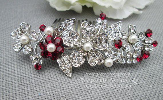 Braut Haar Kamm rot Hochzeit Zubehör Rubin von SparklyAvenue