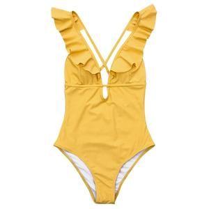 CUPSHE Burgundy Heart Attack Falbala One-piece Swimsuit Women Ruffle V-neck Monokini