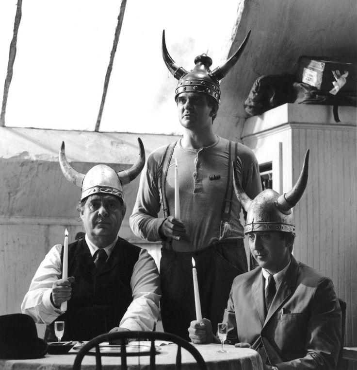 Zero Mostel, Kenneth Mars, and Gene Wilder on the set of THE PRODUCERS (1967)